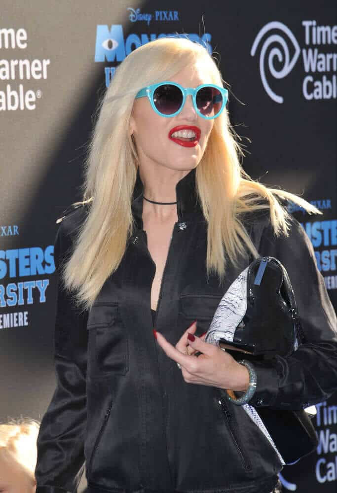 """Gwen Stefani attended the Los Angeles Premiere of """"Monsters University"""" last June 17, 2013  with some casual clothing and simple loose hair with subtle side bangs."""