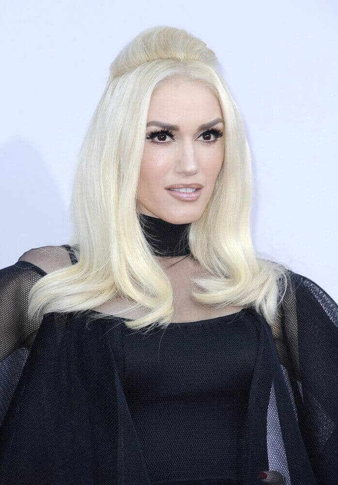 Gwen Stefani portrays a fierce but elegant look with this semi-teased half-up during the American Music Awards 2015 on November 22, 2015.