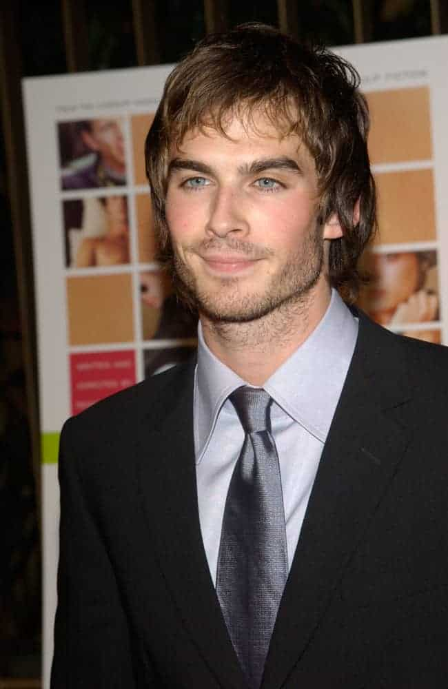 Ian Somerhalder grew his beard and sported a brunette look during the Los Angeles premiere of his movie