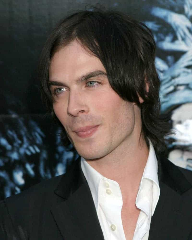 Ian Somerhalder experimented with curtain bangs that seemed to stick on the sides and some wavy back when he appeared for the LA premiere of