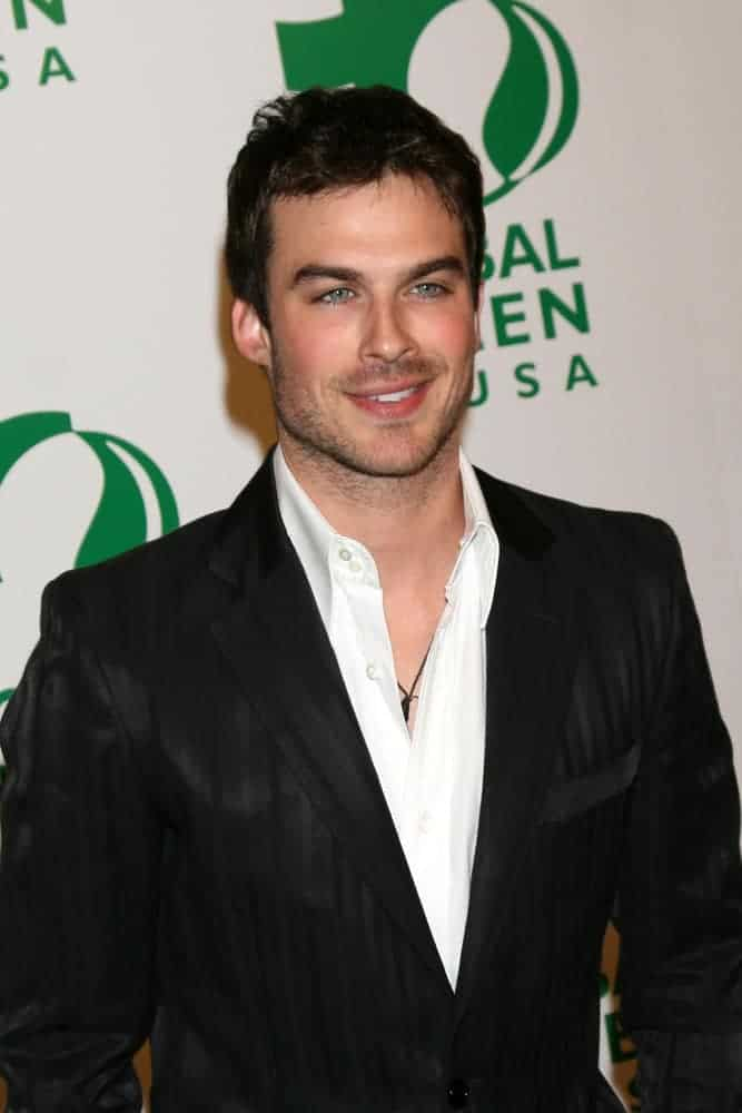 Ian Somerhalder had a short hairstyle when he attended the Global Green Pre-Oscar Party Avalon Los Angeles, CA in 2008.