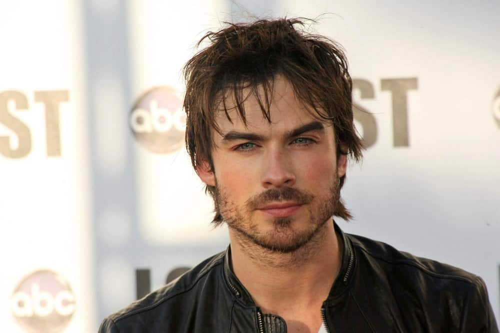 Ian Somerhalder looked smoldering hot with tousled flippy hairstyle and some beard as seen at