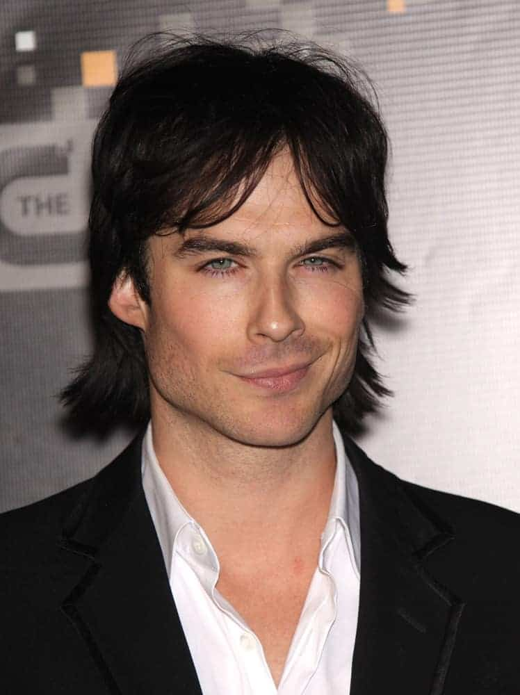 Ian Somerhalder had curtain bangs and flippy hairstyle when he attended the CW Premiere Party in Burbank, CA in 2011.