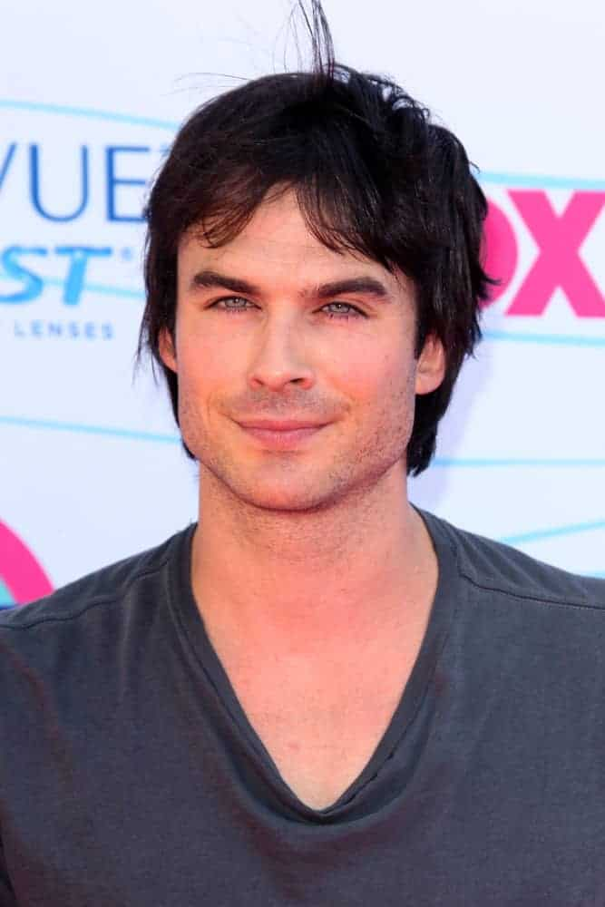 Ian Somerhalder had a shorter yet still a bit unkempt look when he appeared at the 2012 Teen Choice Awards at Gibson Ampitheatre Los Angeles, CA.