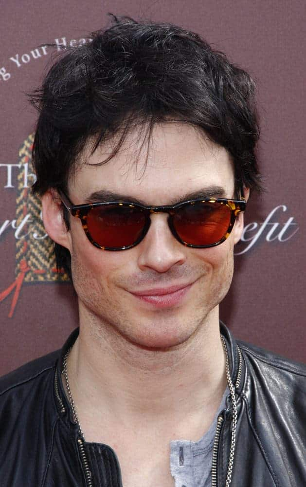 Ian Somerhalder donned some shades under a tousled hairstyle during the John Varvatos 9th Annual Stuart House Benefit Presented By Chrysler And Hasbro held at the John Varvatos Boutique, California, United States on March 11, 2012.