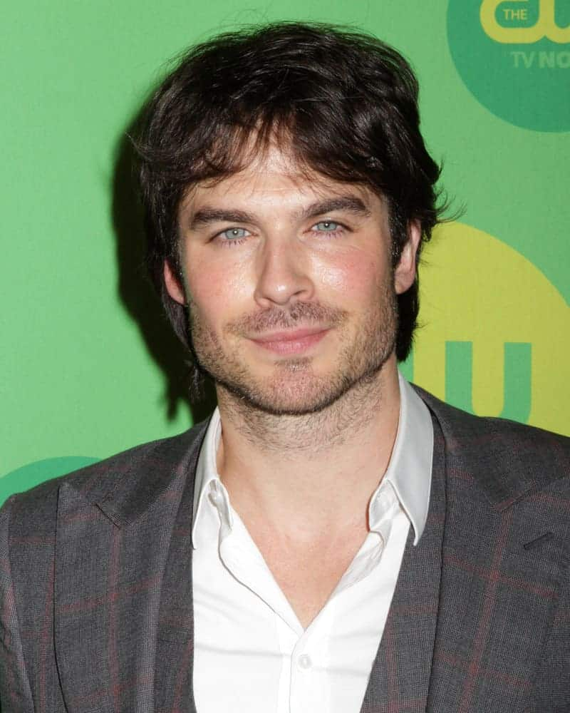 Ian Somerhalder looked ruggedly handsome with wavy fringe bangs and some beard during the 2013 CW Upfront Presentation at The London Hotel on May 16, 2013 in New York City.