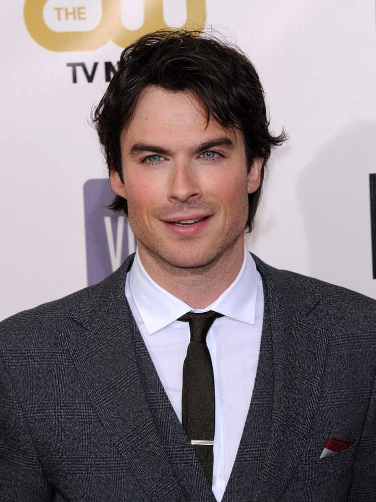 Ian Somerhalder looked fresh with a messy side-parted 'do at the