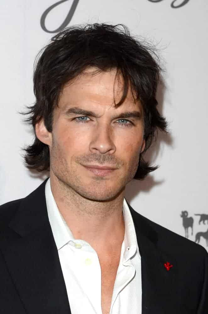 Ian Somerhalder with unkempt hair at the Humane Society Of The United States LA Gala at the Paramount Studios in Los Angeles, California.