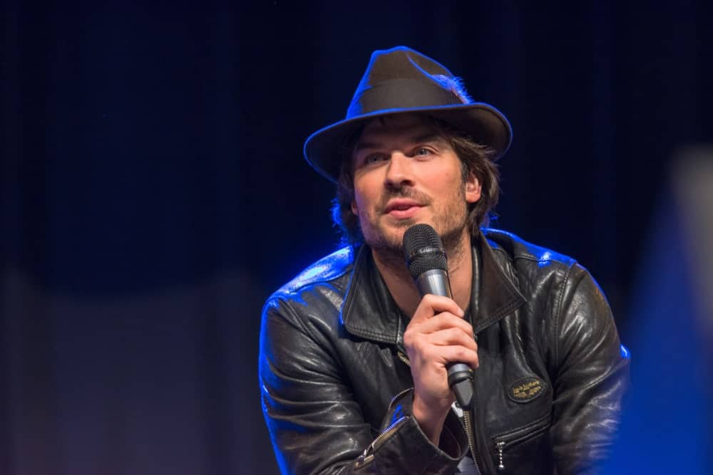 Actor Ian Somerhalder, a panel at the MagicCon, a three-day (March 23-25 2018) fantasy & mystery fan convention sporting a medium-length hairstyle with his fedora hat.