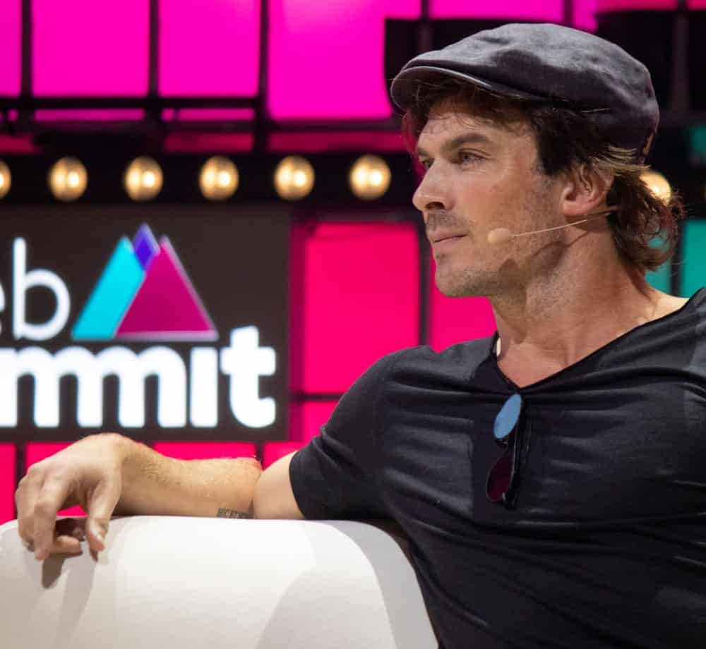 Ian Somerhalder during an interview at Web Summit in Lisbon last November 5, 2019, wearing a newsboy cap over his brunette locks. He had his beard in short stubble that complements his facial features.