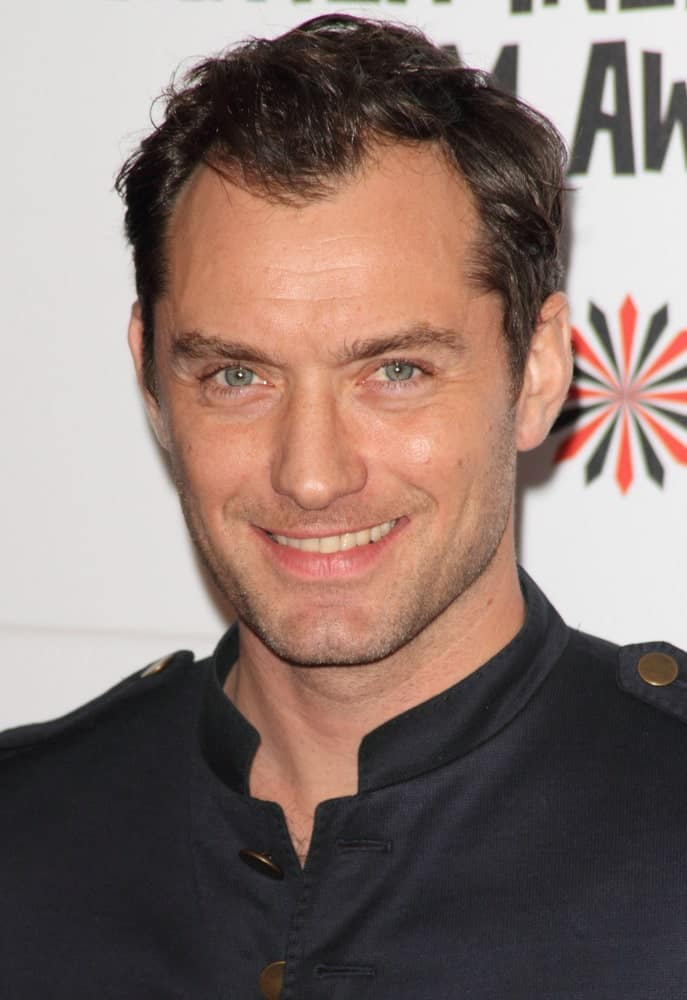 Jude Law's short crew cut hair was tossed up with a slight side-parted style for volume at the Moet British Independent Film Awards at Old Billingsgate last December 9, 2012.