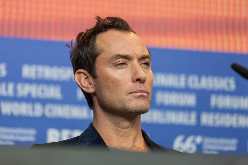 Actor Jude Law showcased his brooding sexy eyes with his tossed up and spiked hairstyle at the 'Genius' press conference during the 66th Berlinale International Film Festival last February 16, 2016.