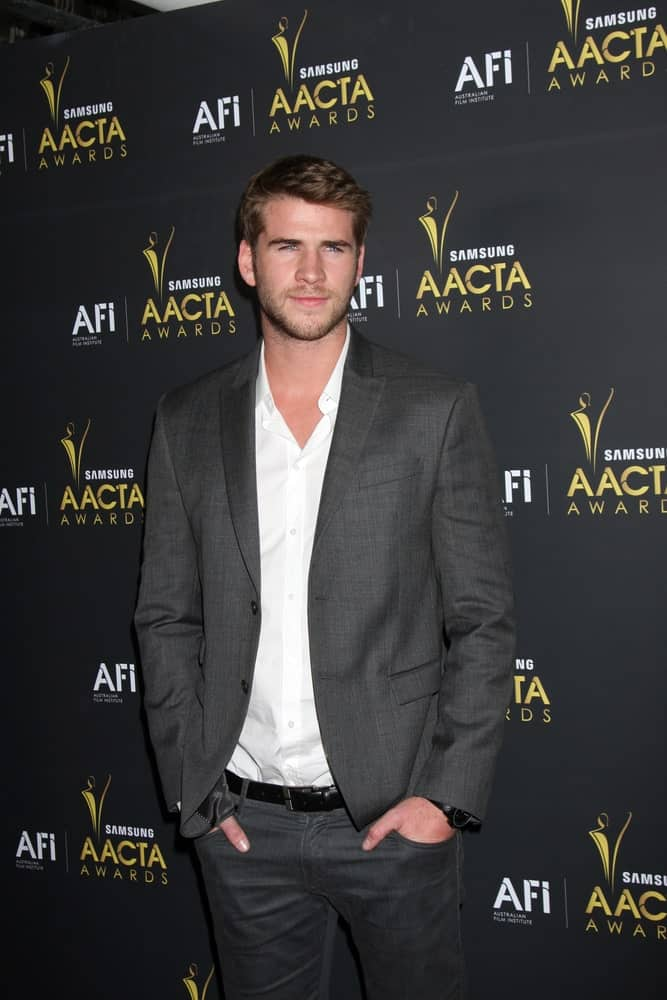 Actor Liam Hemsworth arrived at the AUSTRALIAN ACADEMY INTERNATIONAL AWARDS at Soho House on January 27, 2012 with his side-parted fade and some beard.