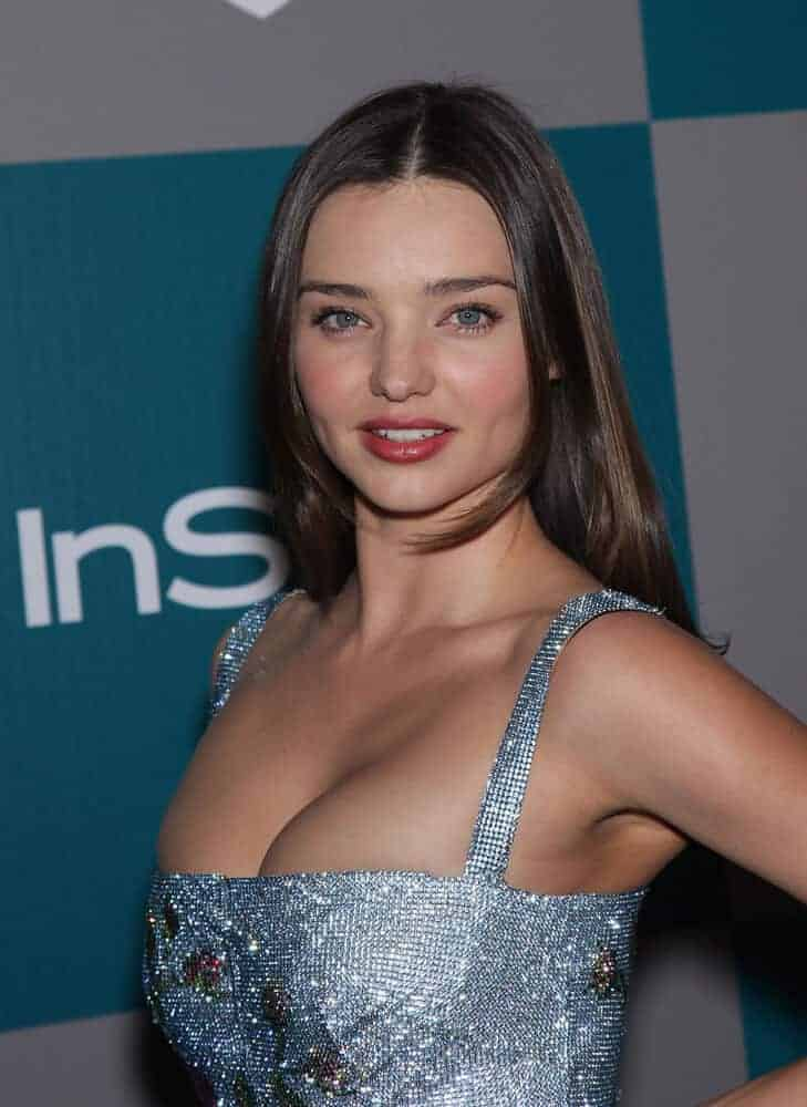 Miranda Kerr's straight, center-parted hair achieved a simple yet sexy look at the Golden Globes 2012 After Party held last January 15, 2012.