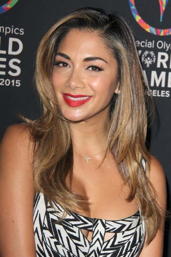 Nicole Scherzinger looked different from her usual self with these highlighted layers she wore at the Special Olympics Inaugural Dance Challenge, July 31, 2015.
