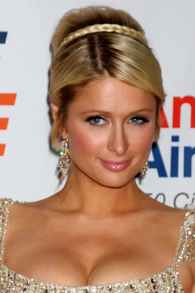 Paris Hilton sporting a formal upstyle secured with a braid during the 8th Race to Erase MS Event at Century Plaza Hotel on April 29, 2011.