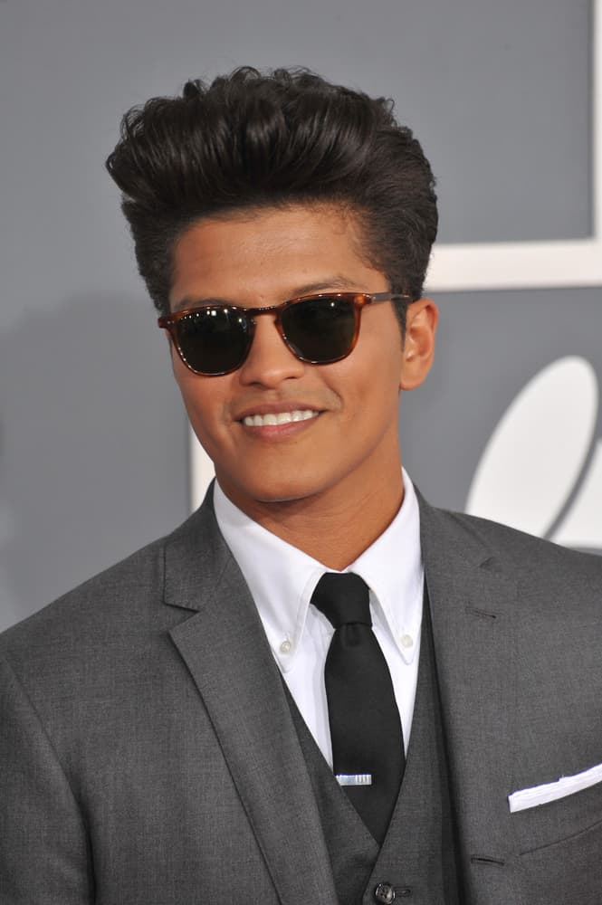 Bruno Mars with his famous pompadour hairstyle