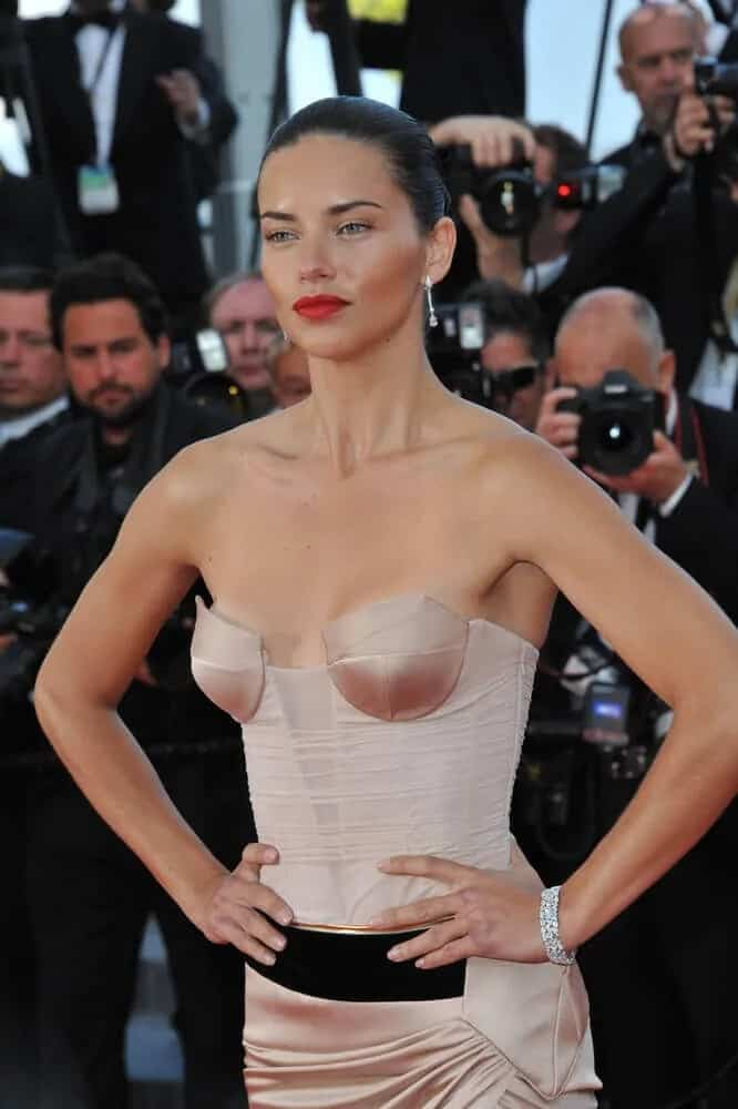 Adriana Lima was absolutely gorgeous with her sleek upstyle paired with a make-up during the gala premiere of