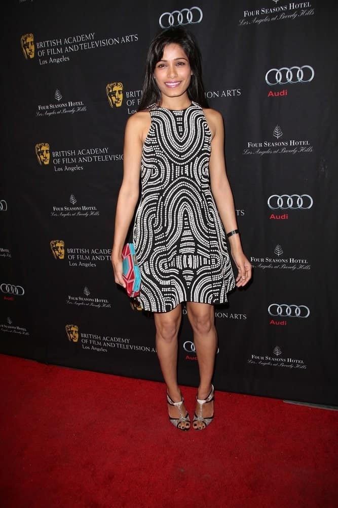Freida Pinto wore this cute short dress and matching shoes with her loose tousled straight hair at the BAFTA Los Angeles 2013 Awards Season Tea Party, Four Seasons Hotel.