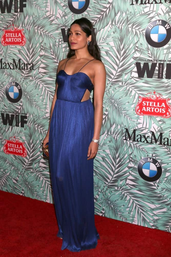 Freida Pinto was at the 10th Annual Women in Film Pre-Oscar Cocktail Party at Nightingale Plaza last February 24, 2017 in Los Angeles showcasing a gorgeous blue dress with a loose and tousled medium-length hair.