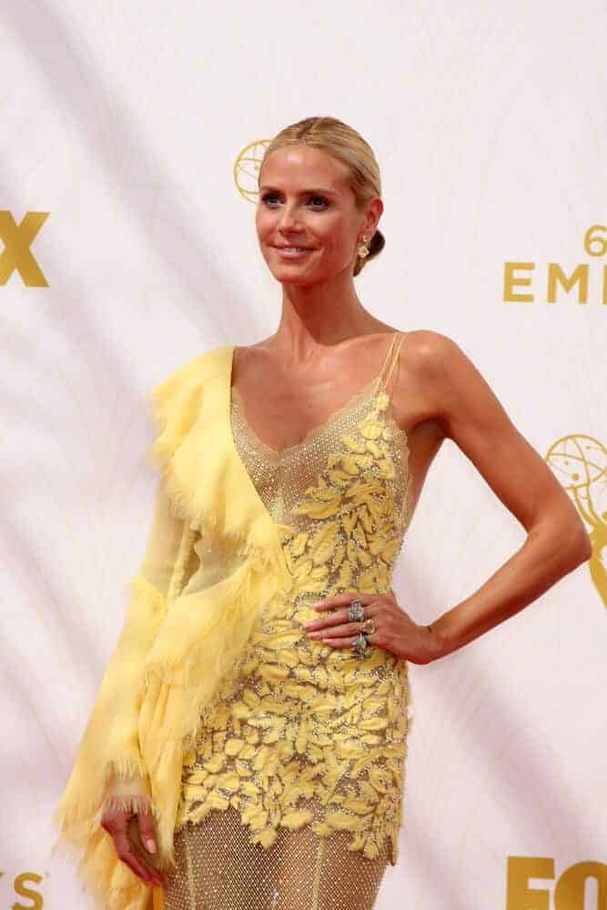 The German-American model looked fine and expensive in this sleek low bun she wore at the 67th Primetime Emmy Awards, September 20, 2015.