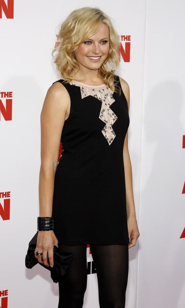 The lovely actress was at the May 28, 2008 World premiere of 'You Don't Mess With The Zohan' held at the Grauman's Chinese Theater. Her simple short black dress was paired with messy tousled blond waves.