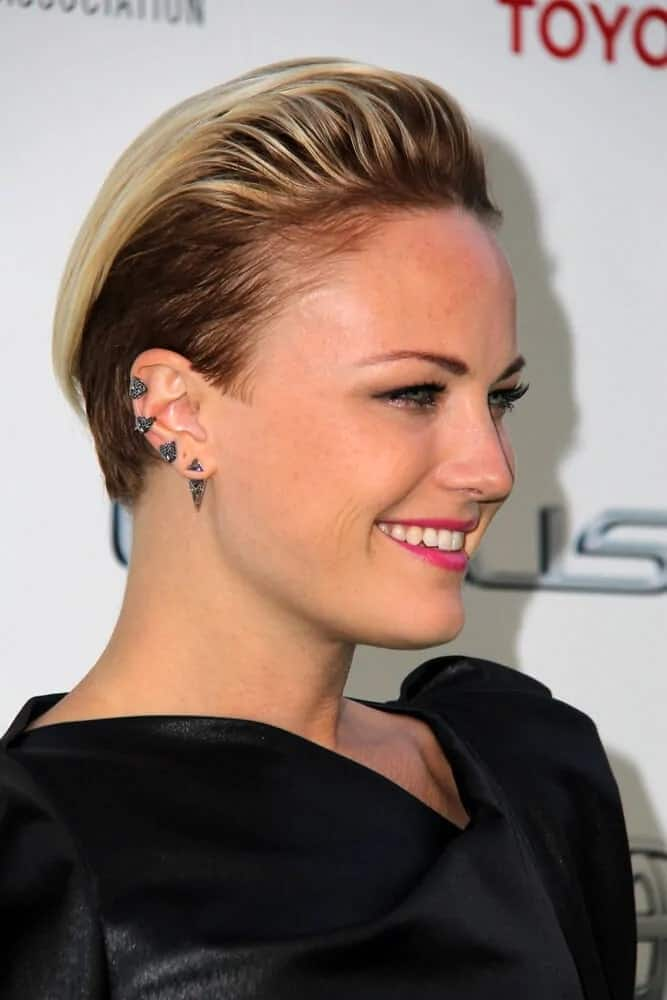 The actress was confidently elegant with her pixie hairstyle that was slicked back with a bit of pompadour look during the 2014 Environmental Media Awards.