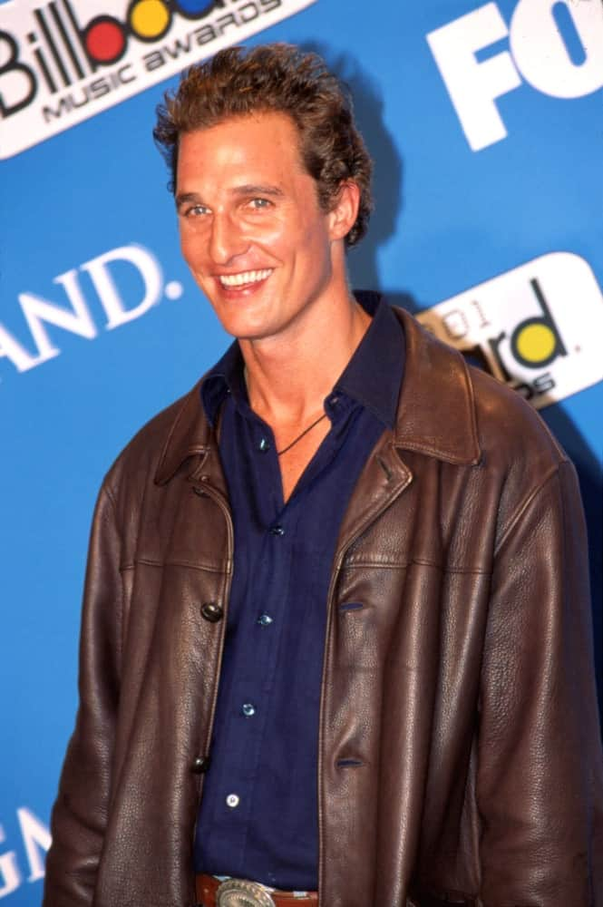Matthew McConaughey's wind-swept short curls had reddish brown highlights that pairs well with his deep tan leather jacket at the 2001 Billboard Awards in Las Vegas last November 29, 2001.