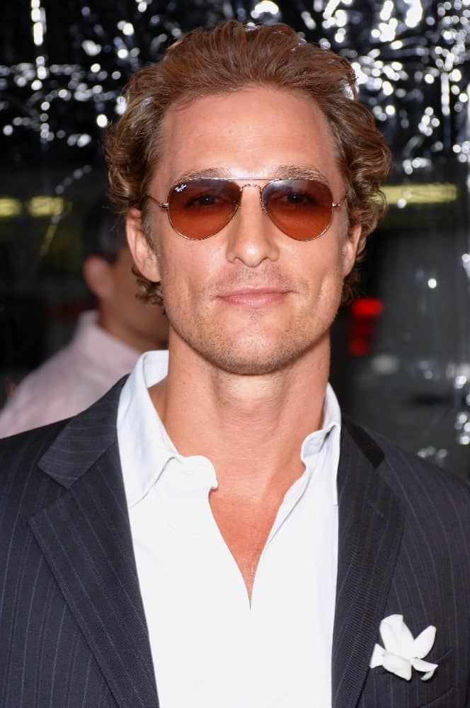 Matthew McConaughey wore dark brown sunglasses at the 2005 world premiere of his movie