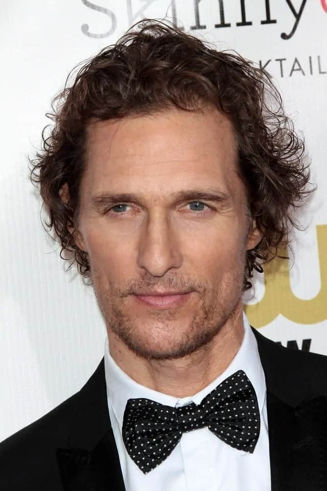 The actor Matthew McConaughey was wearing his iconic textured tousled dark hair during the 18th Annual Critics' Choice Movie Awards in 2013.