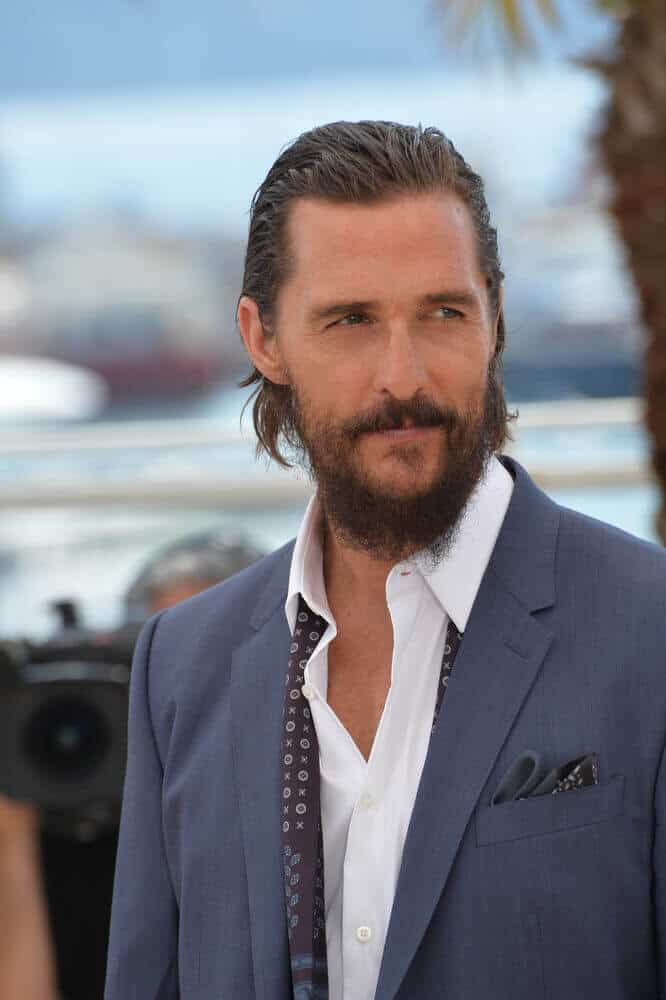 "The actor's medium-length, wavy hair in a slicked back style created a tamed and prim aura. This shot was from a photocall during the premiere of ""The Sea of Trees"" at the 68th Festival de Cannes, May 16, 2015."
