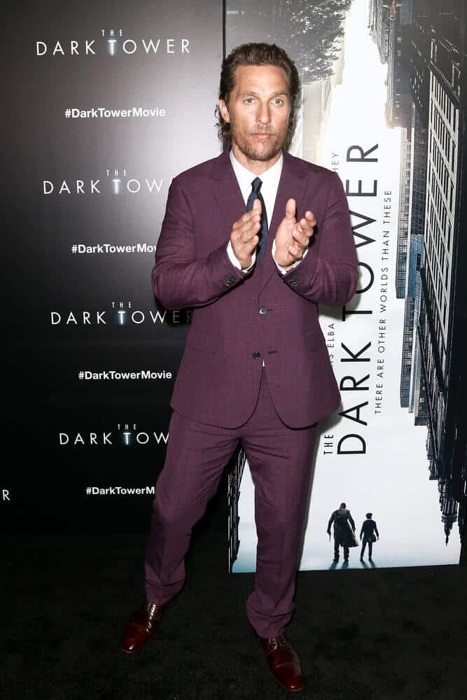 "Matthew McConaughey's  wavy hair is fully-polished using a setting-spray that created a nice and slightly shiny finish. This look was worn last July 31, 2017 for the special screening of the ""The Dark Tower""."