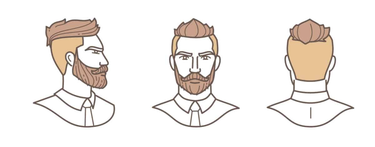 Men's fade hair style chart front, side and back.