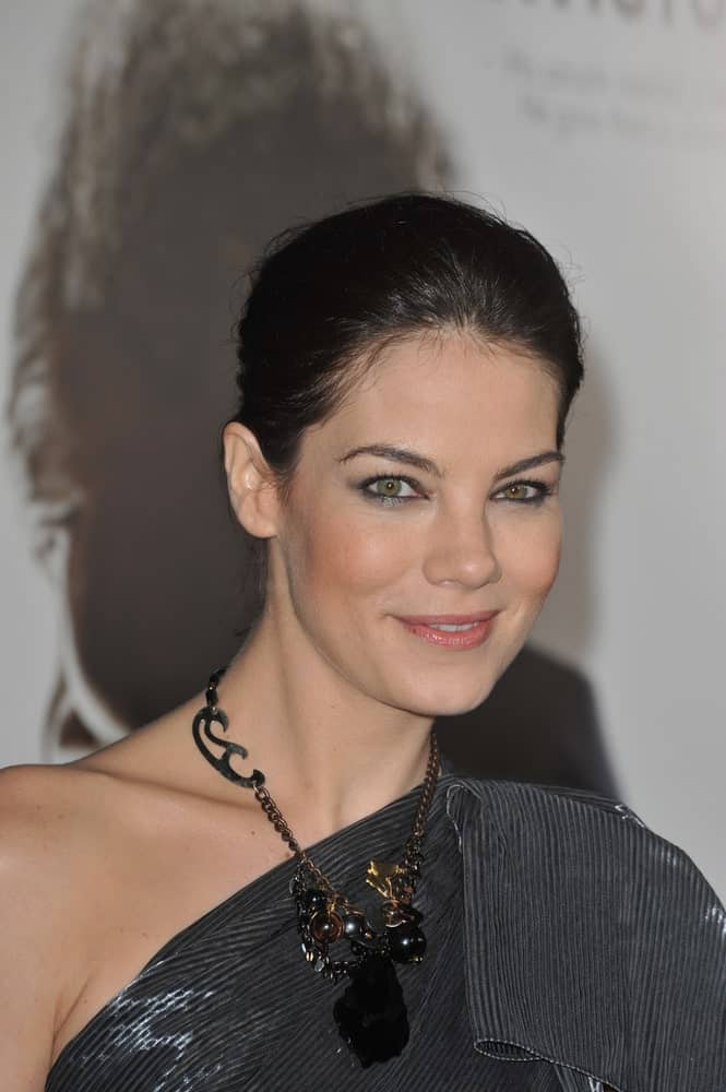 Michelle Monaghan was wearing a messy but tight bun hairstyle at the Los Angeles premiere of