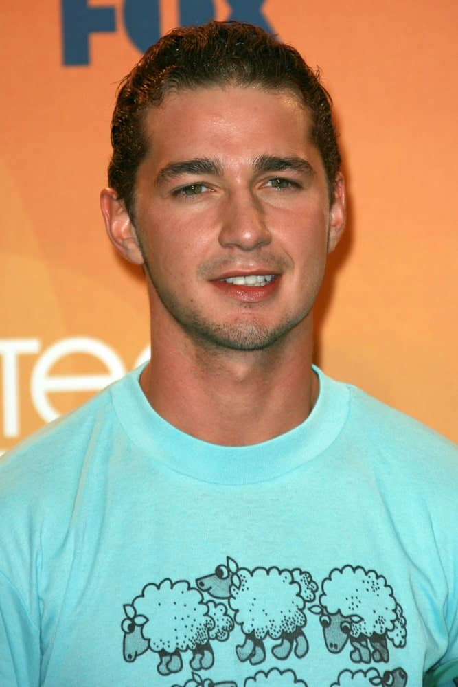 Shia LaBeouf had a blue shirt with a sleek and shiny brushed-up curly hair in the press room of the 2007 Teen Choice Awards at the Gibson Amphitheater, Universal City.