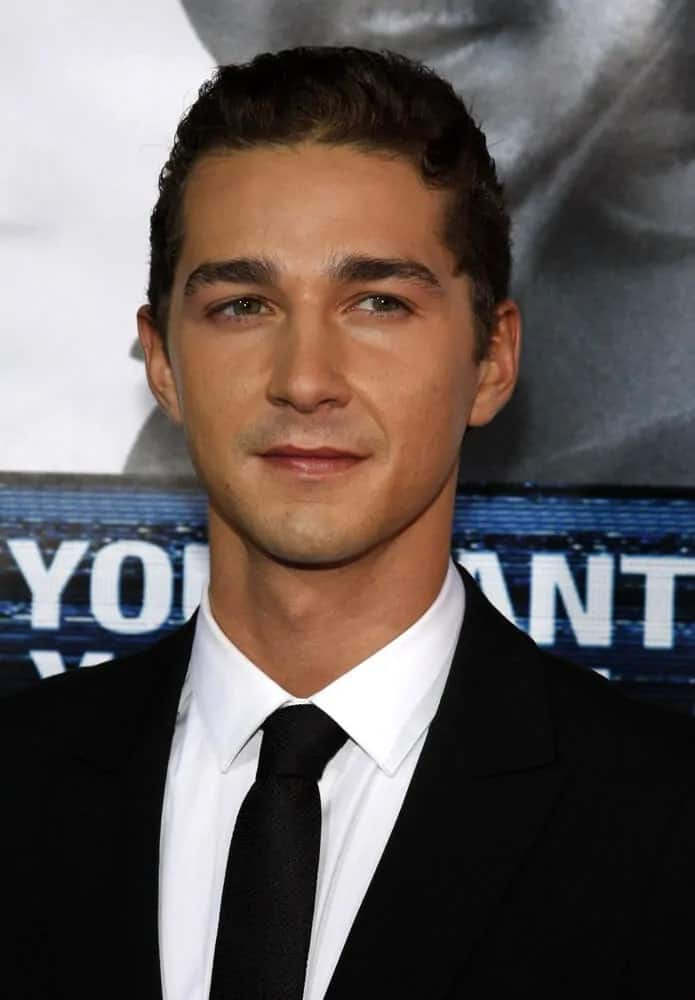 The actor had a classic prim and proper look during the premiere of 'Eagle Eye' last September 16, 2008 where he attended with his curly buzz cut hair brushed up for a sleek finish.