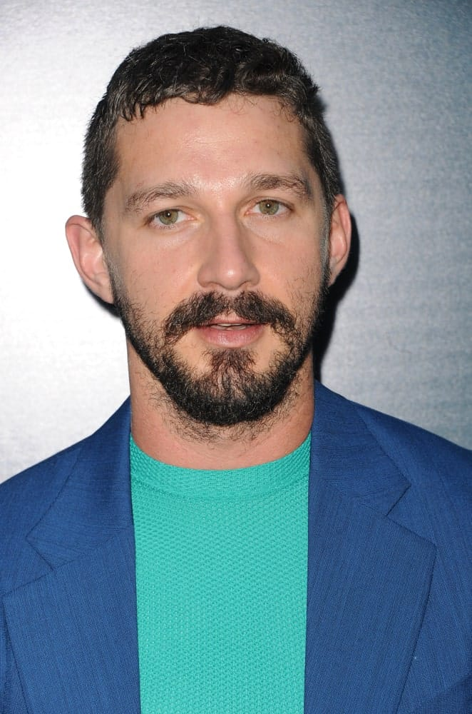 Shia LaBeouf was at the Los Angeles premiere of 'The Peanut Butter Falcon' held at the ArcLight Cinemas in Hollywood, USA last August 1, 2019 with a slight fade hairstyle to his short curls and short beard.