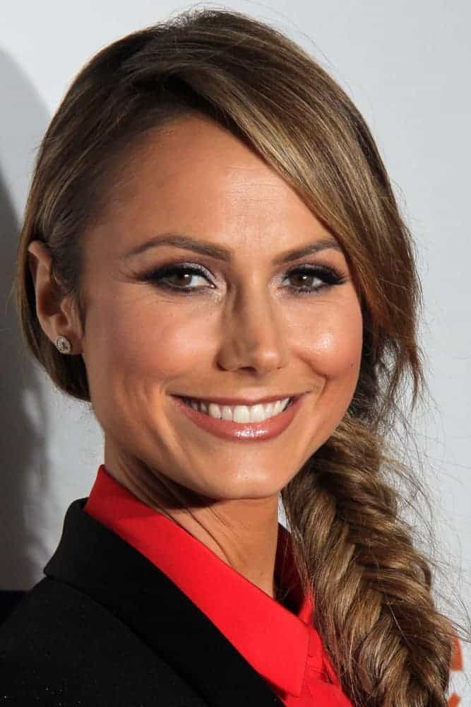 Stacy Keibler was in her most charming get up during the introduction of Joe Fresh at JCP, March 7, 2013. She arrived in a smart-casual outfit and a side-swept fishtail braid.