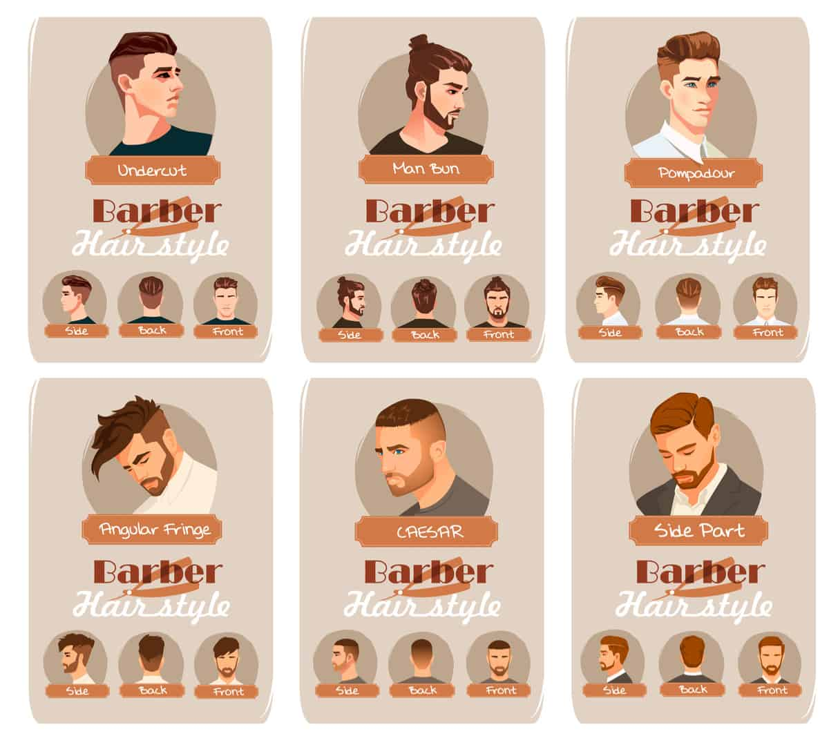 Chart illustrating 6 different men's popular hairstyles and cuts