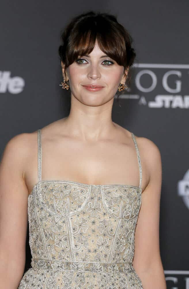 Felicity Jones in Her Iconic Upstyle with Curtain Bangs
