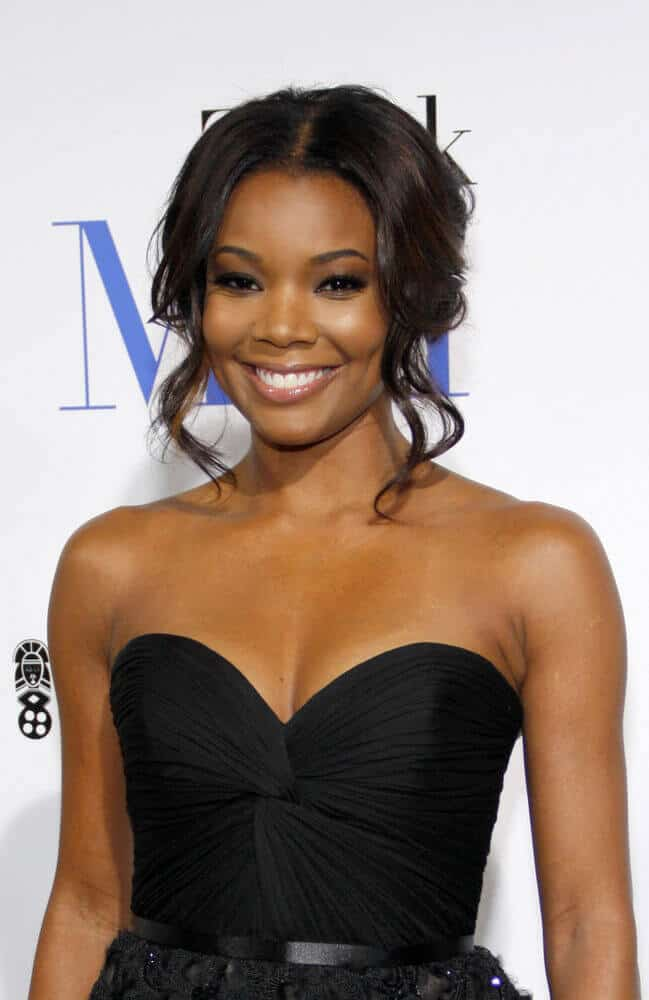 Gabrielle Union attended LA premiere of 'Think Like a Man' last February 2012 in a messy updo incorporated with some wavy tendrils.