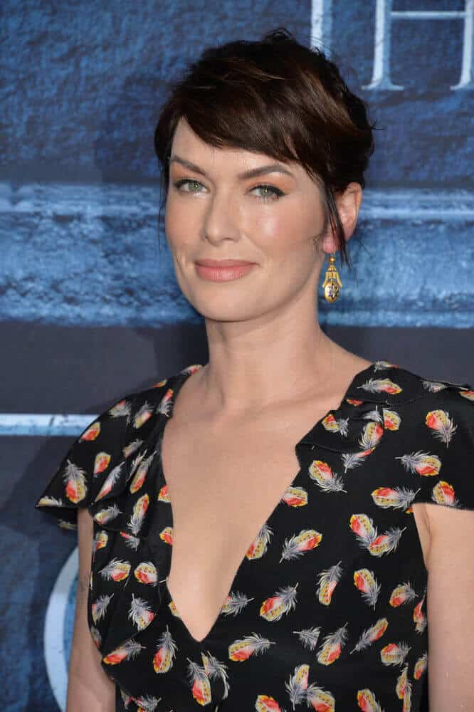 Lena Headey in a semi-tousled upstyle and razor-cut, side-swept bangs