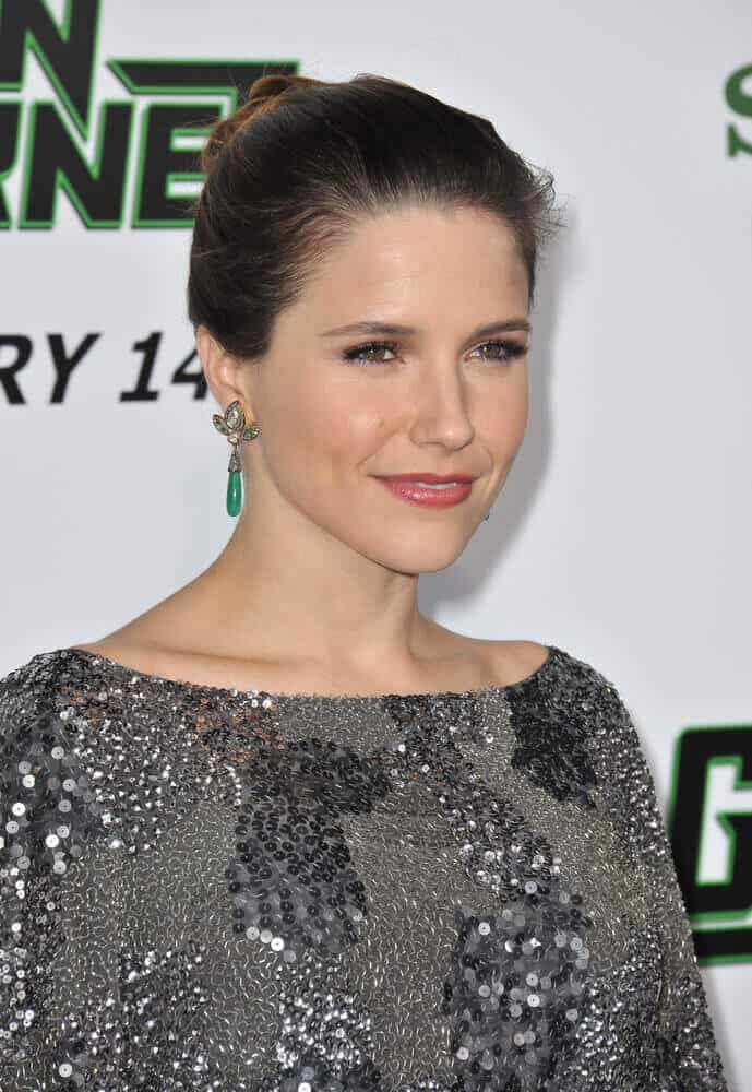 Sophia Bush looking all classy and stylish at the LA premiere of 'The Green Hornet'. She wore this neat bun and dazzling dress that complemented each other pretty well.