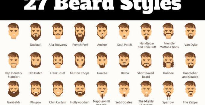 Beard styles chart showing 27 different beard options