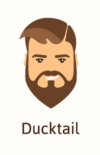 Ducktail beard style illustration