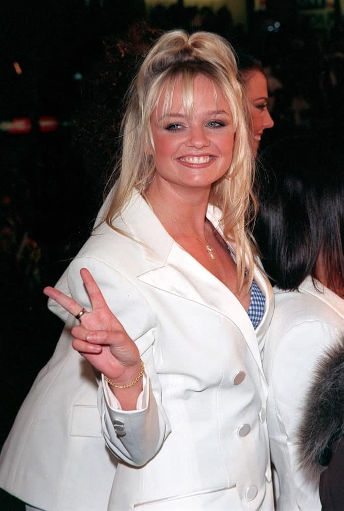"""Emma Bunton rocked an edgy half updo with some airy bangs during the Los Angeles premiere of their movie """"Spiceworld"""" held on January 2, 1998."""