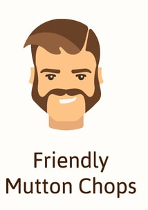 Friendly mutton chops facial hair style - illustration