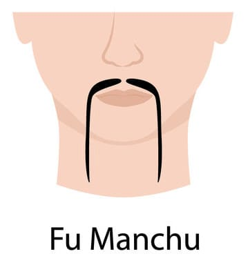 Fu Manchu style of mustache (illustration)