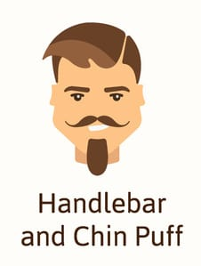 Handlebar and chin puff facial hair illustration
