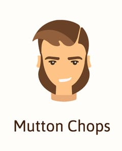 Mutton chops facial hair example illustration